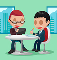 Two Businessmen Cartoon Character Meeting vector image