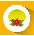 lemon citrus and red flower leaves icon design vector image