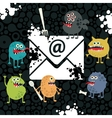 Virus monsters in the email letter vector image
