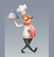 chef cook serving food 3d cartoon elite restaurant vector image