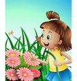 A girl with a hose at the garden vector image vector image