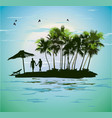 young couple relaxing on a tropical island vector image vector image