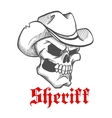 Dangerous skull sheriff in cowboy hat sketch vector image vector image