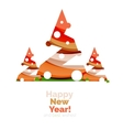 Christmas and New Year geometric paper design vector image