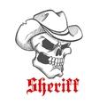 Dangerous skull sheriff in cowboy hat sketch vector image