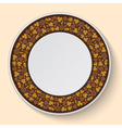 Decorative plate template with brown clover vector image