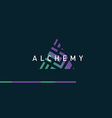 Development of a linear gradient logo on alchemy vector image