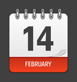 february 14 calendar daily icon vector image
