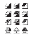 Folding awnings and canopies of buildings vector image