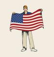 sketch flag bearer colour vector image