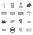 Taxi icons set gray monochrome style vector image