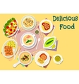 Popular soups with meat and fish dishes icon vector image