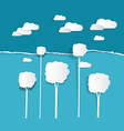 Paper Clouds and Trees on Torn Paper Blue vector image