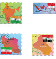 stamp with an image of map capital India Indonesia vector image vector image