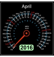 2016 year calendar speedometer car April vector image