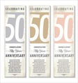 50 years Anniversary retro banner set vector image