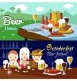 Beer Flat Banner Set vector image