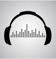 headphones icon with sound wave beats flat vector image