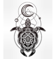 Ornate turtle in tattoo style with moon vector image