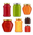 realistic fruit jam jar icon set vector image