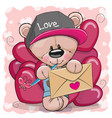 Valentine card with cute cartoon teddy bear vector image