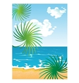 picture of cartoon summer sunny beach with clouds vector image