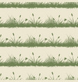 vintage grass and bushes silhouettes horizontal vector image