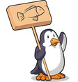 Penguin Holding a Wooden Sign vector image