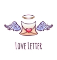 love letter with wings and nimb vector image