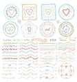 Doodle framebrusheswreath decor setPastel vector image