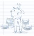 Man carrying piggy bank vector image