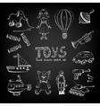 Chalkboard cartoon toys vector image