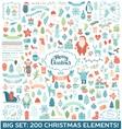 Christmas decoration big collection vector image