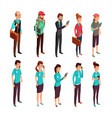 corporate clothes isometric standing vector image