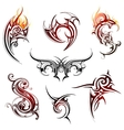 Fire flame tattoo set vector image