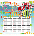 Happy New Year 2017 Printable Calendar vector image