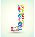 Letter J colored font from numbers vector image
