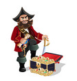 treasures chest and pirat vector image