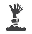 zombie hand glyph icon halloween and scary vector image