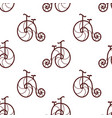 seamless pattern of retro bicycle line art design vector image