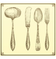 Cutlery set Doodle style vector image vector image