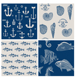 Fish and Marine Background Set vector image