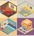movie theater building in isometric style design vector image
