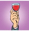 Toast glass red wine pop art vector image