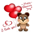 Valentine s day Teddy bear with balloons greetings vector image