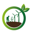 color circular frame with farmer and wind turbines vector image