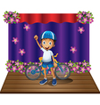 A boy and his bike at the center of the stage vector image vector image