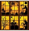 Halloween windows in house vector image