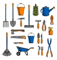 Various of gardening tools and equipments symbols vector image vector image