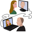 Man and woman having a video call vector image